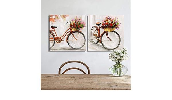 ZXMPGYH Impresión 2 Unids Rojo Bicicleta Flores Paisaje Pintura Al ...