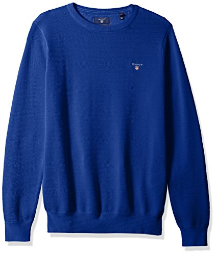 GANT Men's Pique Cotton Crewneck Sweater, Yale Blue, M