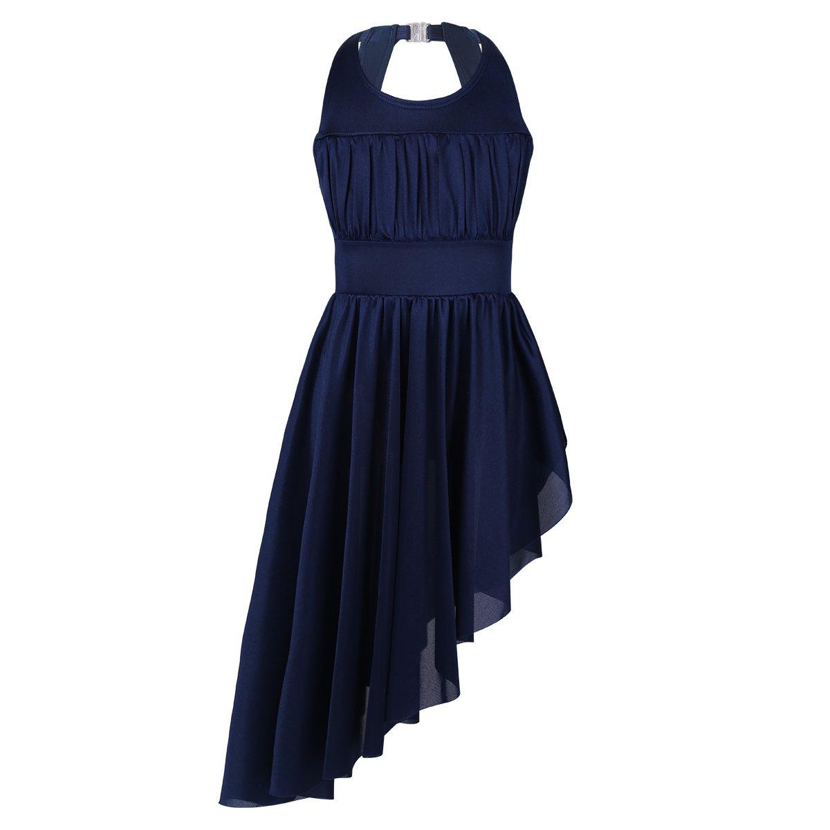 inlzdz Kids Girls Sleeveless Ruched Cutout Back with High Low Hem Leotard Dress Lyrical Ballet Dance Dress