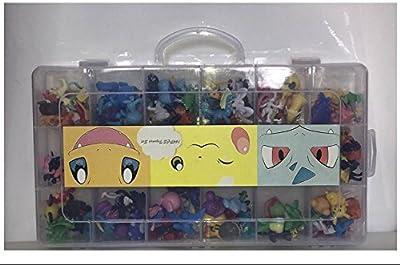 Fas&Faz 144 pcs Pokemon Mini Action Figures Toys In A Storage Case (Birthday Gifts Toy)
