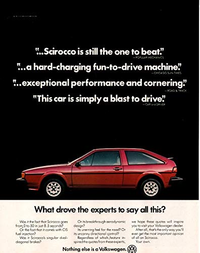 (Magazine Print Ad: Red 1982 Volkswagen Scirocco VW,