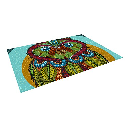 Kess InHouse Art Love Passion ''Owl'' Teal Multicolor Outdoor Floor Mat/Rug, 4 by 5' by Kess InHouse