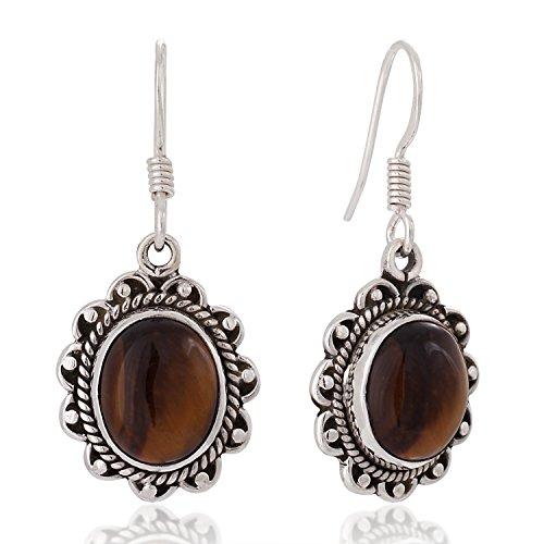 925 Sterling Silver Brown Tigers Eye Gemstone Oval Rope Edge Vintage Dangle Earrings 1.4