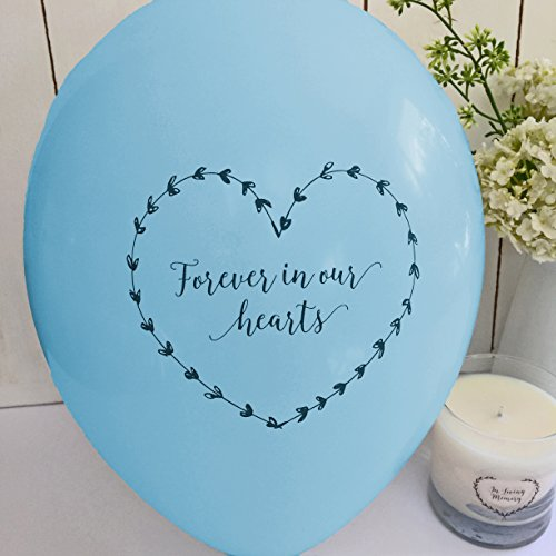 ANGEL & DOVE 25 Blue 'Forever In Our Hearts' Biodegradable Funeral Remembrance Balloons - for Memory Table, Memorial, Condolence, Anniversary