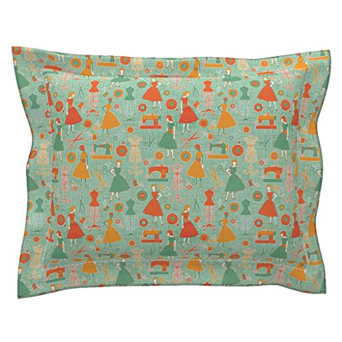 Roostery Sewing Euro Flanged Pillow Sham Sew Retro by Jennartdesigns Natural Cotton Sateen made by (Pillow Sew Envelope)