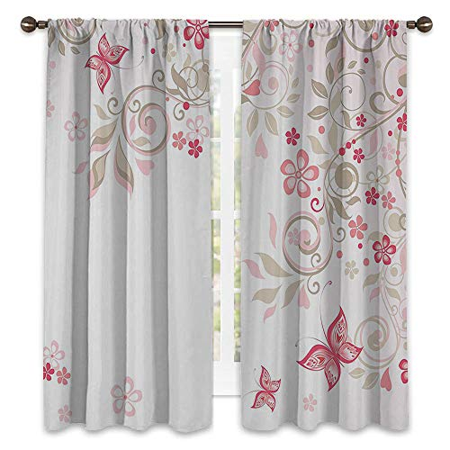 SATVSHOP Room Darkening Wide Curtains - 108W x 96L - Decor Curtains(Set of 2 Panels).Floral Curly Branch Wildflowers Butterfli Dots omantic Bridal Wedding Theme Pink Cocoa Light Pink.