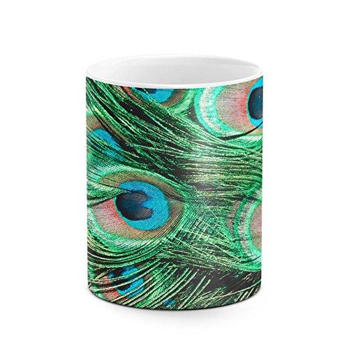 Peacock Tail Feathers Pattern White Heat Resistant Ceramic Tea Coffee Mug - (Bowl Stoneware Lizard)