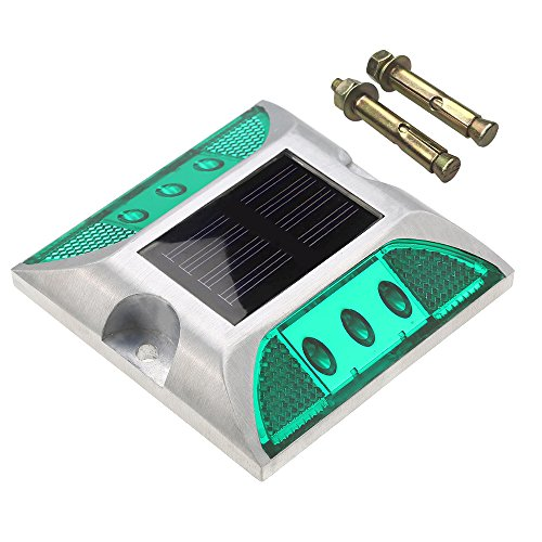 CST Lighting Aluminum Solar 6-LED Deck Dock Lights Step Road Path Lamp Waterproof Security Warning Driveway for Outdoor Fence Pool Patio Yard Home Pathway Stairs Garden (Green)