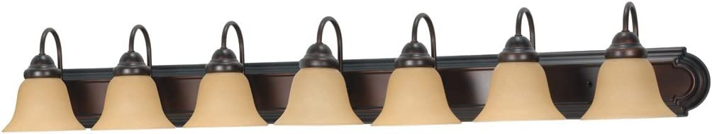 Filament Design 77779151268 7-Light Mahogany Vanity Light with Champagne Linen Washed Glass Shade, Bronze