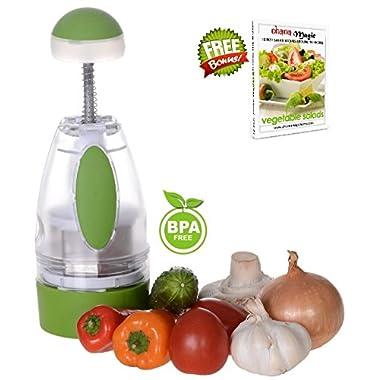 Ohana Magic Onion Chopper Slap Chop Food Vegetable Garlic Dicer Mincer Cutter Slicer Nut Salad Tomato Herb Fruit Salsa Maker + Gift Recipe eBook