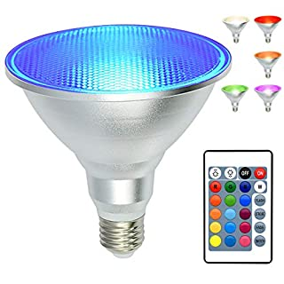 PAR38 Led Floodlight Bulb, 20W RGB Color Changing Light Bulb with Remote Control, Kuniwa Spotlight E26 Dimmable Light Bulb, IP65 Waterproof Light Screw for Lawn Home Living Room Party Decoration