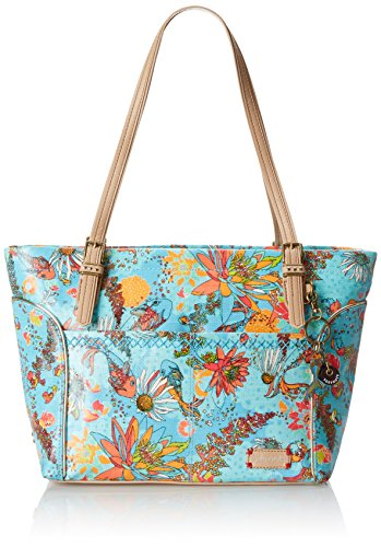 Sakroots Artist Circle Medium Satchel Top Handle Bag, Aqua Xen Garden, One Size