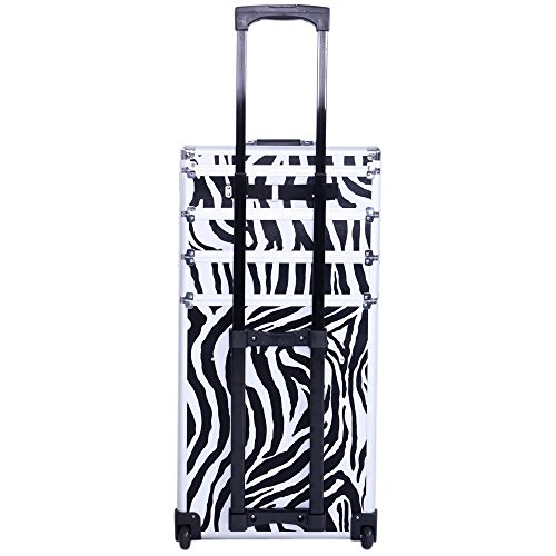 Aluminum 4 in 1 Rolling Makeup Trolley Train Case Box Organizer Salon Cosmetic - Zebra By Allgoodsdelight365 by allgoodsdelight365