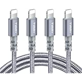TIMMY Phone Charger Cable 6ft 4 Pack Long Nylon Braided USB Fast Charging&Syncing Cable Cord Compatible Phone XS Max/XS/XR/X/8/8Plus/7/7Plus//6S Plus/SE(Grey)