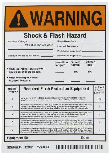 - Brady 121081 Vinyl Film Write-On Hi/Low Risk Arc Flash Labels (Warning) , Black/Orange On White,  7