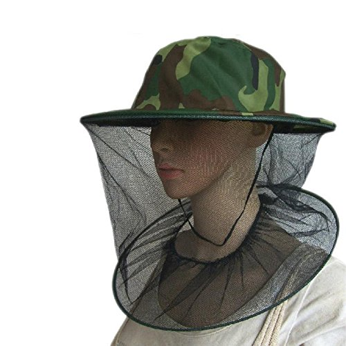 Ownsig Fabric Camouflage Field Jungle Mesh Face Mask Cap Mosquito Bee Bug Insect Fishing Hat Facial Protector -