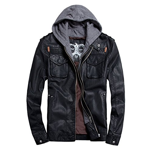 Mens Faux Leather Moto Bomber Hoodie Jackets Rock Style Zip UP (80s Outfits For Sale)