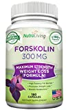 180 Capsules - Pure Forskolin with 40% Standardized Extract, 300 mg per Diet Pill - 100 Coleus Forskohlii Root Fuel for Weight Loss - Belly Buster - Lose Fat Fast - Slim + Tones - Ignites Metabolism