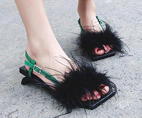 Cuir Bout En Pour MUYII à Black Sandales Ouvert Sandales Femmes aTxOUfHqw