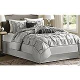 Madison Park Laurel Comforter Set, Queen, Grey