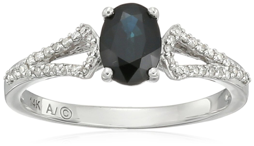 14k White Gold Oval Sapphire and Diamond Ring (1/10cttw, I-J Color, I2-I3 Clarity), Size 7