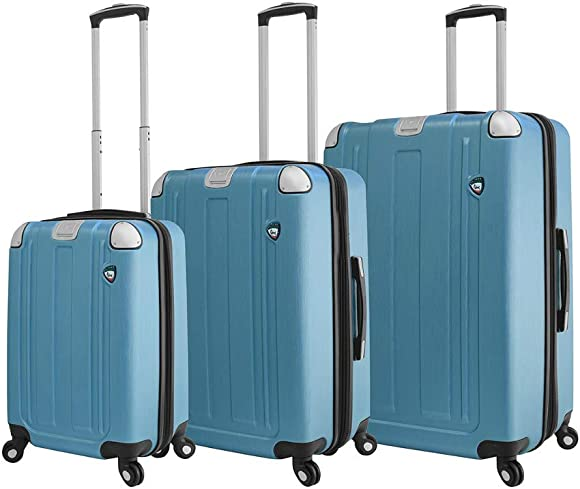 Mia Toro Italy Accera Hardside Spinner Luggage 3 Piece Set,slate, One Size