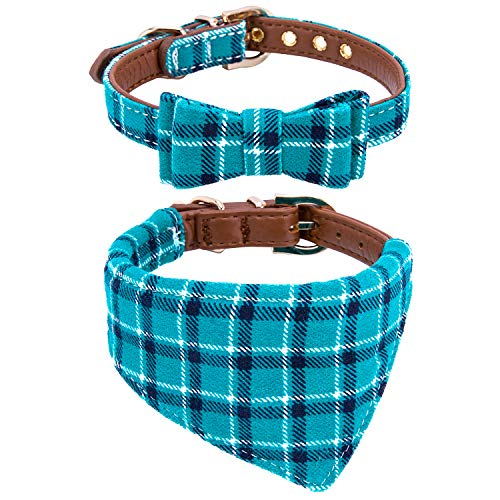 StrawberryEC Puppy Collars for Small Dogs Adjustable Puppy Id Buckle Collar Leather. Cute Plaid Bandana Dog Collar (Bow+Bandana-Peacock ()