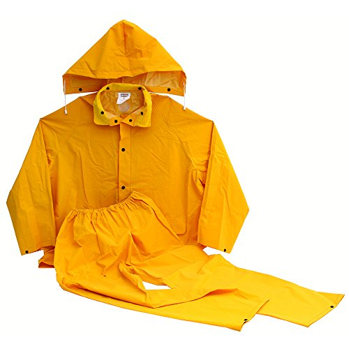 LEGENDFORCE 2499607 Three Piece Yellow Rainsuit with Detachable Hood, Jacket And Pants, Large by LEGENDFORCE (Image #1)