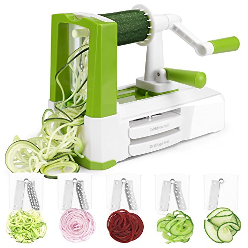 Spiralizer Vegetable Slicer, MILCEA 5 Blades Zoodle Maker with Anti-Slip Suction Pad, Veggie Spiralizers Zucchini Spiral Noodle Spaghetti Maker for Low Carb/Gluten-Free Meals