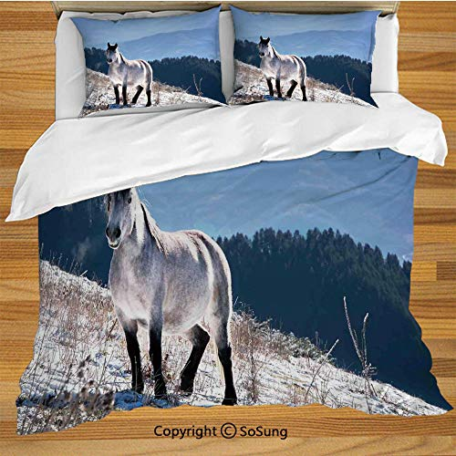 SoSung Horses King Size Bedding Duvet Cover Set,Horse on Snowy Mountains Noble Body Wild Animals in Wilderness of Human Nature Decorative 3 Piece Bedding Set with 2 Pillow Shams,White Green Blue