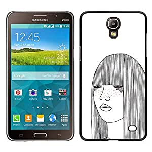 // PHONE CASE GIFT // Duro Estuche protector PC Cáscara Plástico Carcasa Funda Hard Protective Case for Samsung Galaxy Mega 2 / girl sketch white freckles woman art /