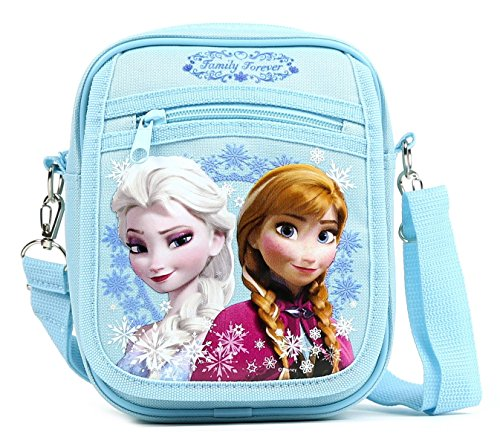 GoodyPlus Disney Frozen Elsa and Anna Detachable Lanyard Messenger Shoulder Bag, Snow Blue, (Frozen Bag)