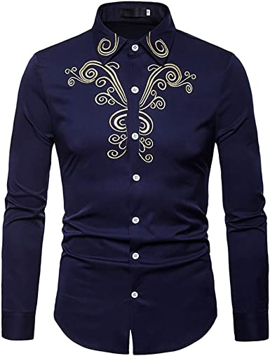 Hombres Camisa De Manga Larga Bordada Casual Slim Fit Vintage Formal Western Cowboy Camisa De Vestir Top: Amazon.es: Ropa y accesorios
