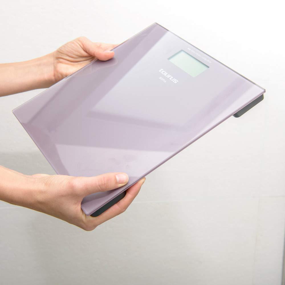Taurus Sofia Báscula de baño Digital, diseño Slim, 28 x 28 x 2 cm, Resistente, kg/LB, Pantalla Grande, fácil Lectura, máximo 180 kg/mínimo 3 kg, ...