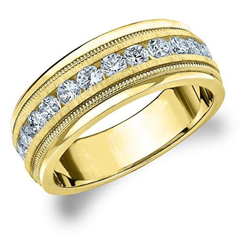 18K Yellow Gold Diamond Men's Satin Finish Milgrain Band (1.0 cttw, H-I Color, I1-I2 Clarity) Size 9 (Ring 18k Gold Eternity Diamond)