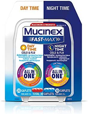 Mucinex Fast-Max Day Time Cold & Flu/Night Time Cold & Flu Caplets. Maximum Strength – 30 caplets – All in One Multi Symptom Relief