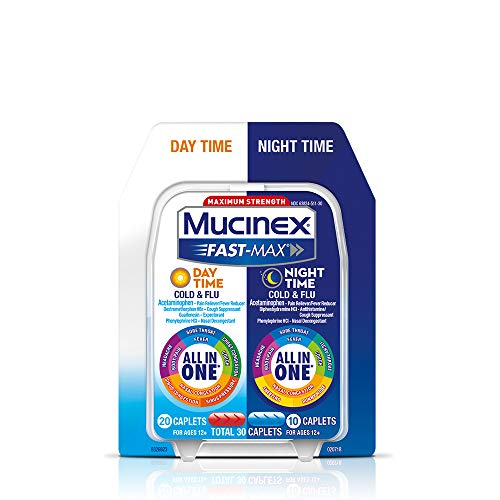Mucinex Fast-Max Day Time Cold & Flu/Night Time Cold & Flu Caplets. Maximum Strength - 30 caplets - All in One Multi Symptom Relief (Best Over The Counter Medicine For Congestion And Runny Nose)