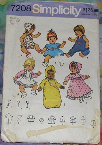 Simplicity 7208 Sewing Pattern Baby Alive Ginny Baby Powder Puff Doll Clothes Check Listings for Size
