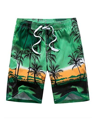 Mens Casual Printed Beach Board Shorts Hawaiian Quick Dry Swim Trunks with Mesh Lining