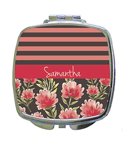 Flowers and Stripes in Pink Jacks Outlet CUSTOM Square Compact Mirror