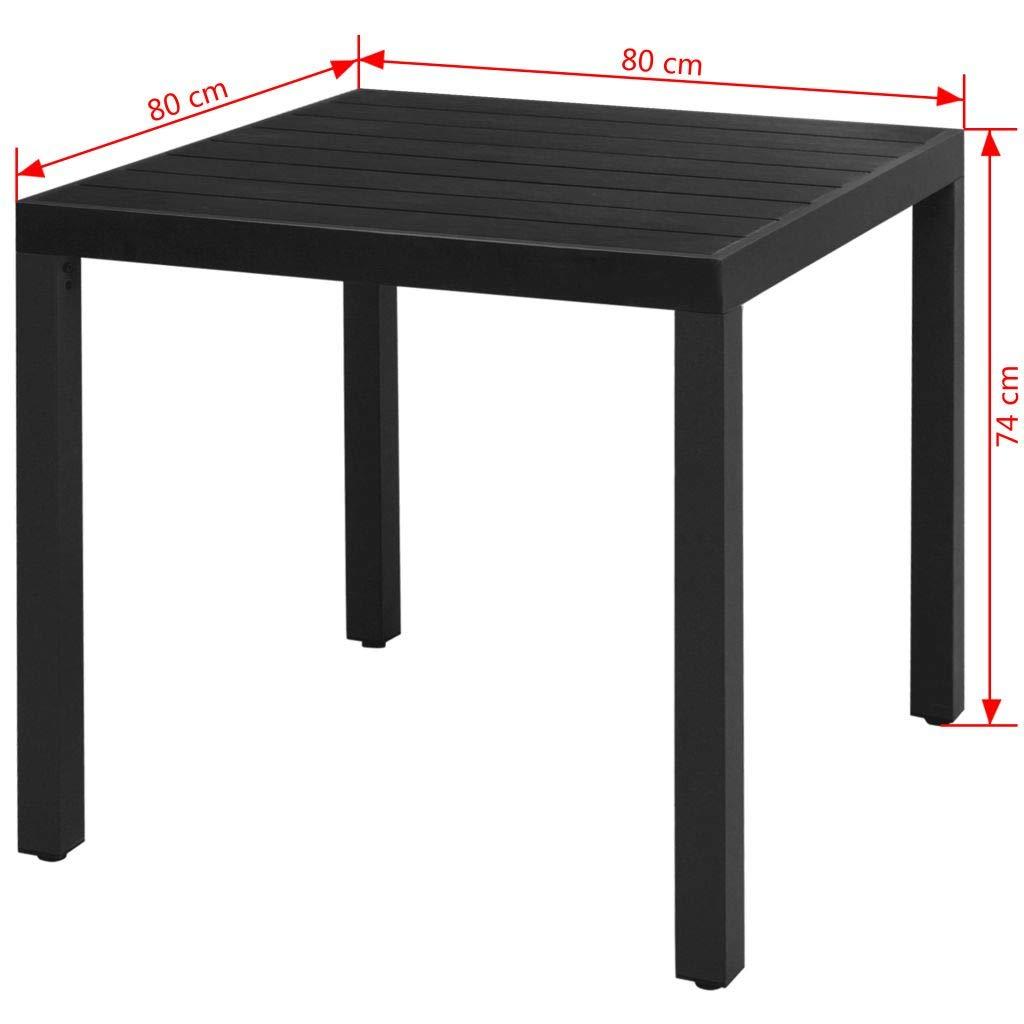 vidaXL Table /à Manger de Jardin WPC Aluminium 80 x 80 x 74 cm Noir