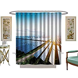 luvoluxhome Shower Curtain Customized Solar Panels with The Sunny Sky Blue Solar Panels Background Fabric Bathroom Decor Set with Hooks W69 x L84