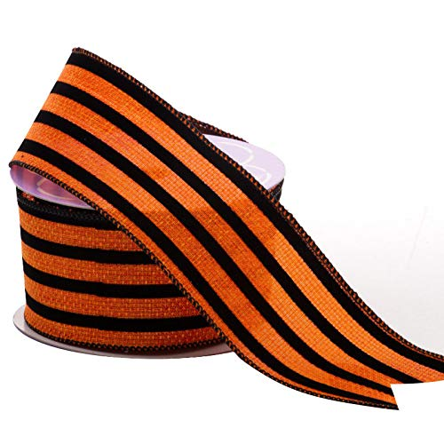 Wire Edge Halloween Ribbon Striped - 2 1/2