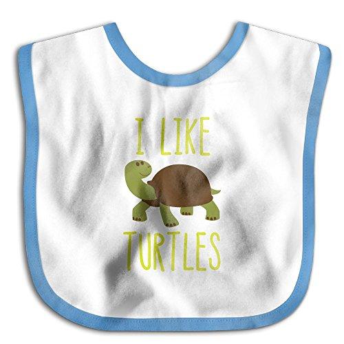 I Like Turtles Costume (Comfortable Soft Infant I Like Turtles Teething Bib - Bib Easily Wipes Clean! RoyalBlue)