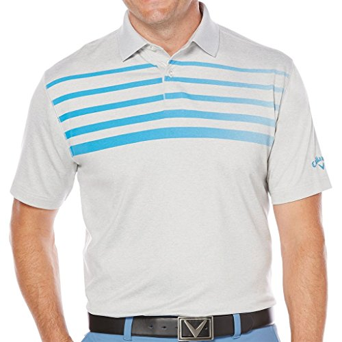 Callaway Men's Heathered Polo Short Sleeve With Fade Printed Chest Stripes, Cloisonne, Medium