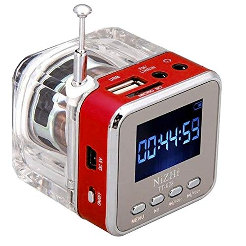 Sonmer Mini LCD Display Clear Case Speaker, With Clock Function,Suitable for MP3 MP4 CD DVD GPS PSP Mobile Phone Notebook U Disk SD Card (Red)