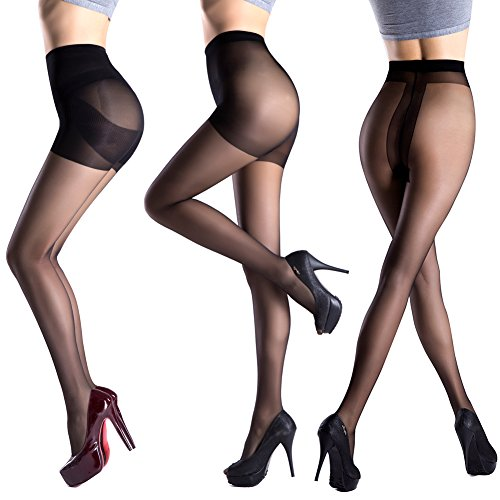 Pantie Hose (Pantyhose 3 Pack in Different Style-Control Top Tights Sheer-T Crotch Stockings For Slit Dress-Pantyhose With Opaque Panty (L,)