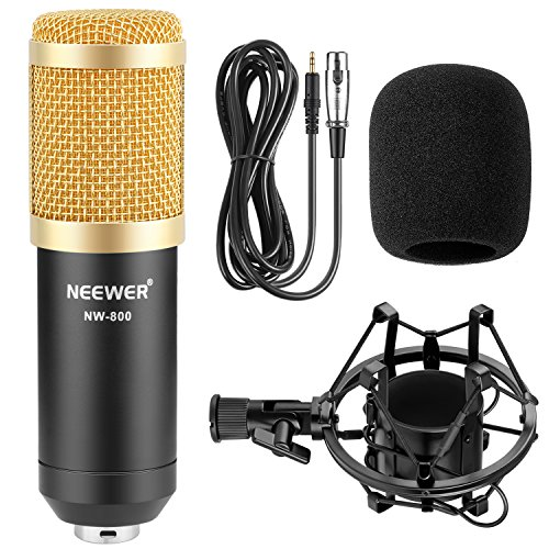 Neewer NW-800 Professional Studio Broadcasting & Recording Microphone Set Including (1)NW-800 Professional Condenser Microphone + (1)Microphone Shock Mount + (1)Ball-type Anti-wind Foam Cap + (1)Microphone Power Cable (Black) - Image 1