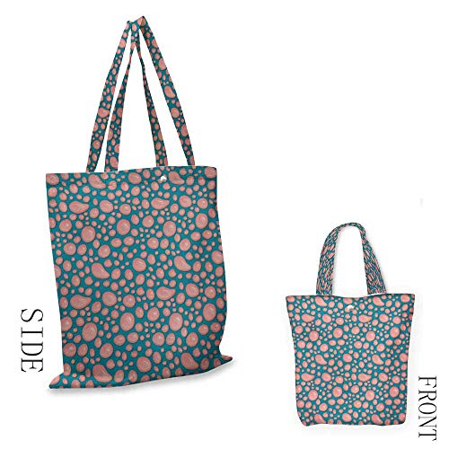 Pale PinkExquisite shopping bagDrops and Round Splash of Bubble Gum on Blue Background in Cartoon StyleFoldable shopping bag W15.75 x L13.78 Inch Petrol Blue Coral