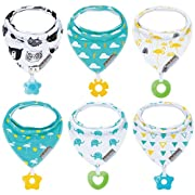 Baby Bandana Drool Bibs 6-Pack and Teething toys 6-Pack Made with 100% Organic Cotton, Super Absorbent and Soft Unisex (Vuminbox ) ( 6 PCS )